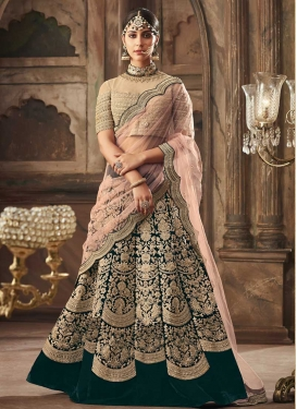 Velvet Beads Work Trendy A Line Lehenga Choli