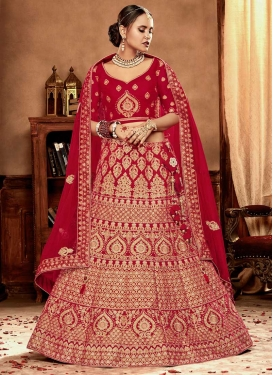Velvet Designer A Line Lehenga Choli