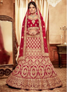 Velvet Designer Classic Lehenga Choli For Bridal