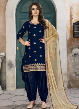 Velvet Designer Semi Patiala Salwar Suit For Festival