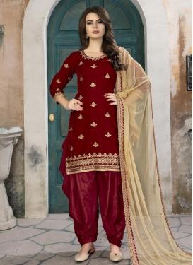 Velvet Designer Semi Patiala Suit