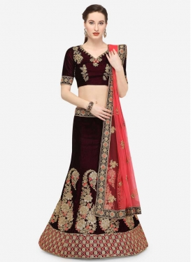 Velvet Embroidered Work A - Line Lehenga
