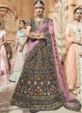 Velvet Embroidered Work A Line Lehenga Choli