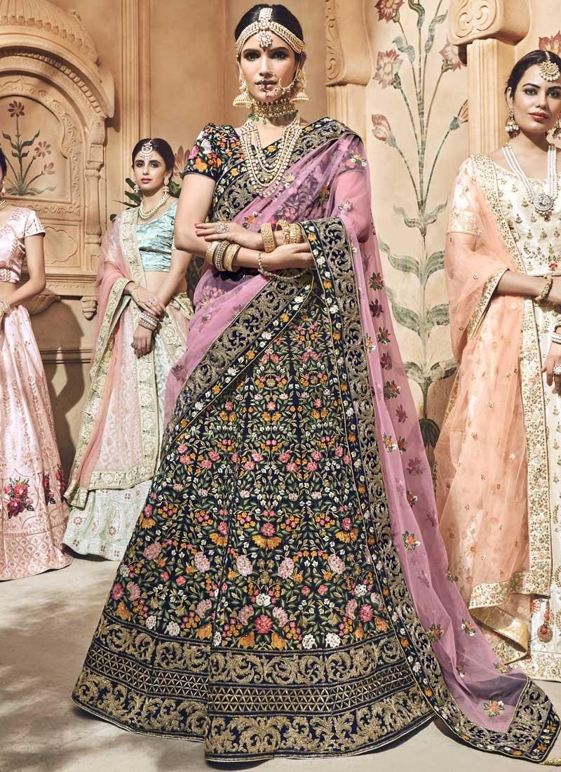 Velvet Embroidered Work A Line Lehenga Choli