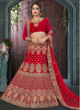Velvet Embroidered Work Fish Cut Designer Lehenga Choli