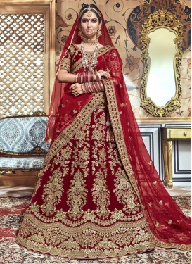 Velvet Embroidered Work Trendy A Line Lehenga Choli