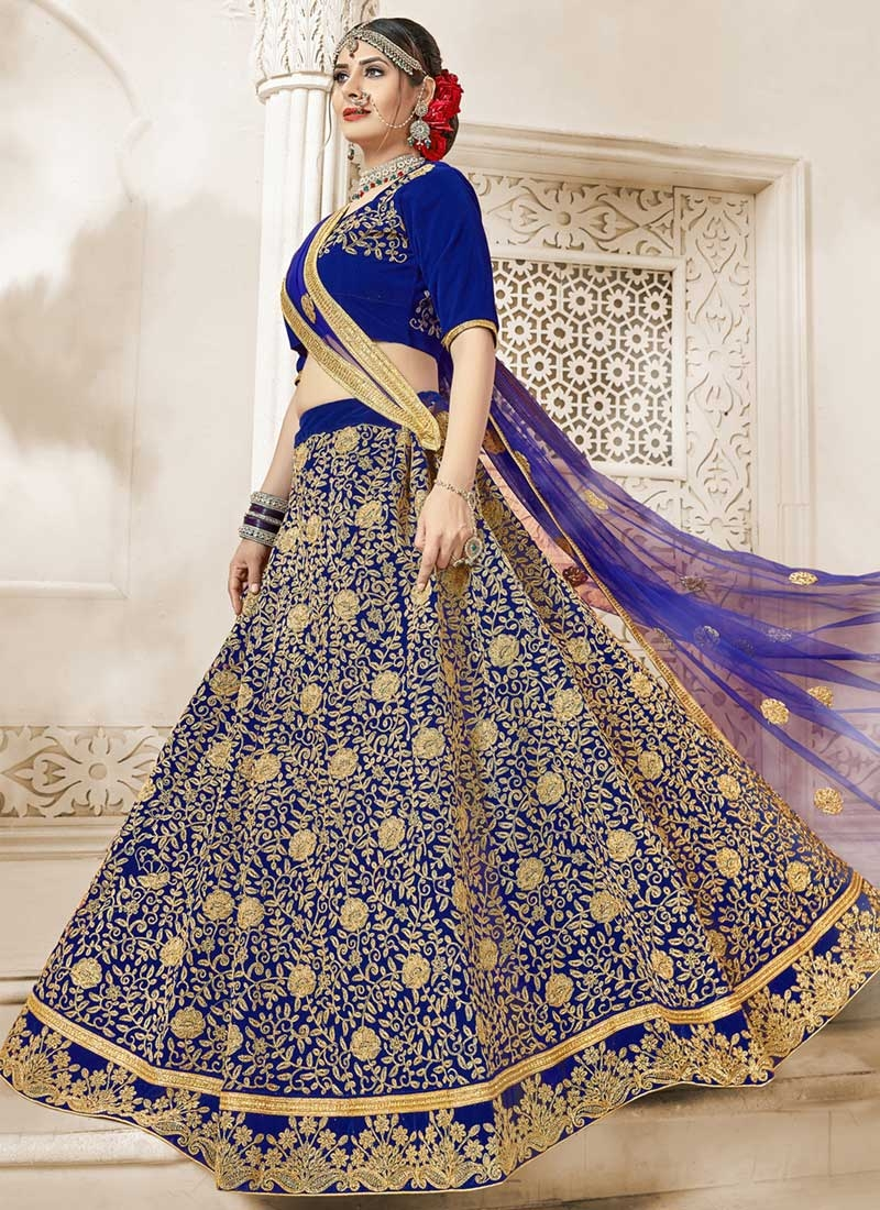 Velvet Embroidered Work Trendy A Line Lehenga Choli