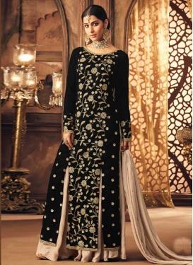 Velvet  Palazzo Style Pakistani Salwar Kameez For Festival