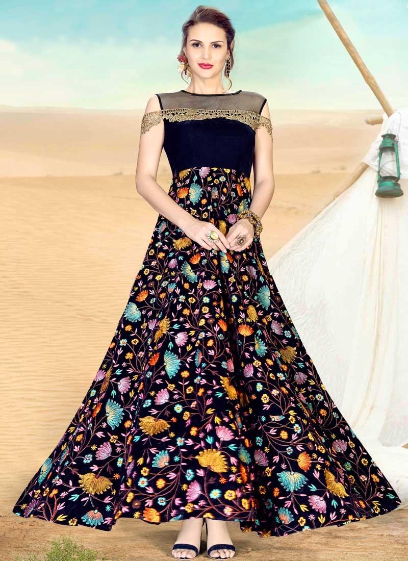 Velvet Readymade Floor Length Gown For Festival