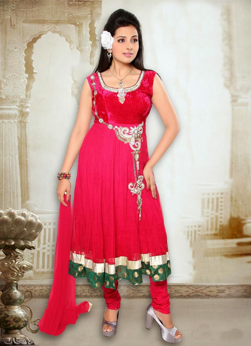 Velvet Work Readymade Anarkali Salwar Suit