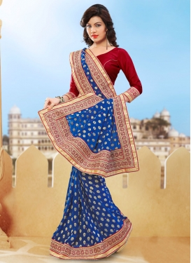 Versatile Blue Color Beads Work Designer Saree