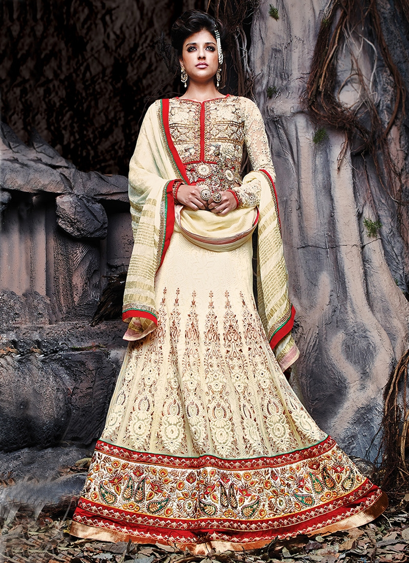 Versatile Cream Color Net Designer Lehenga Choli
