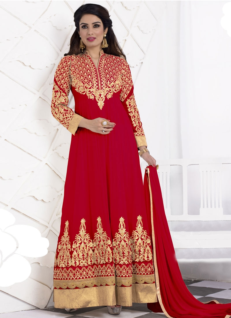 Versatile Embroidery Work Long Length Anarkali Suit