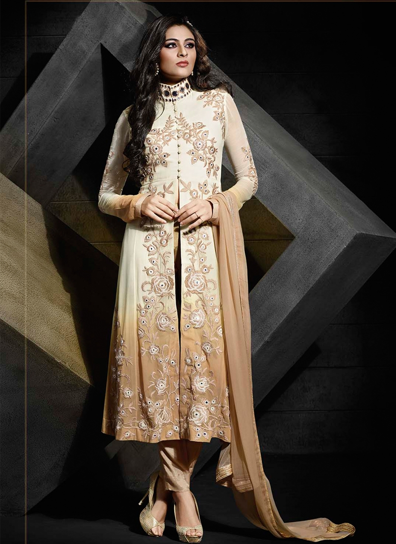 Versatile Embroidery Work Off White Color Pant Style Designer Suit