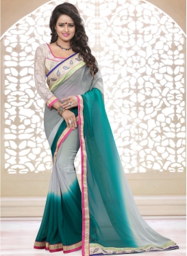 Versatile Faux Georgette Stone Work Party Wear Saree