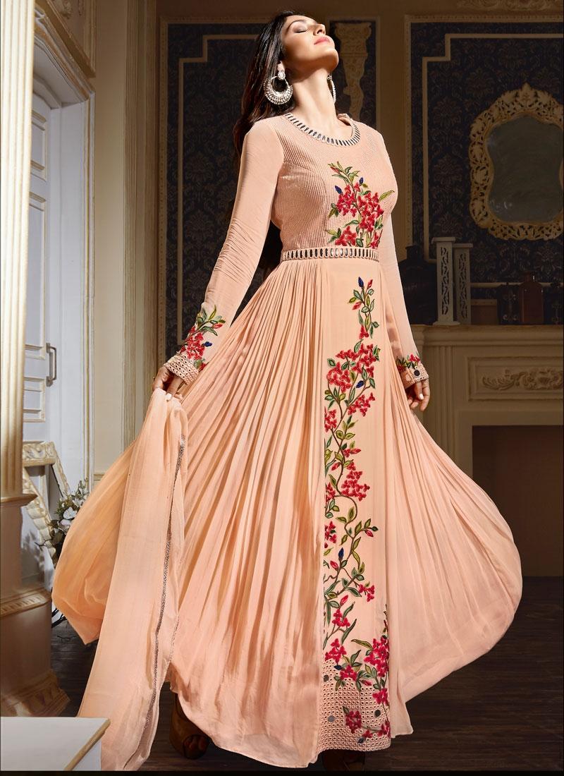 Versatile Floral Work Long Length Designer Salwar Kameez
