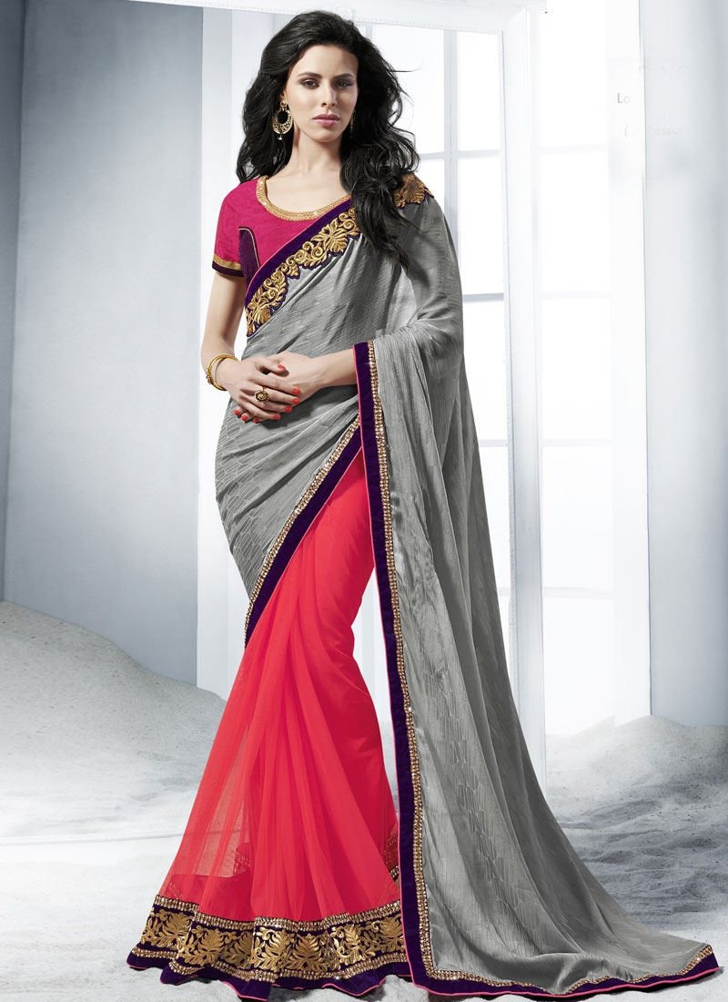 Versatile Jacquard And Net Half N Half Wedding Saree