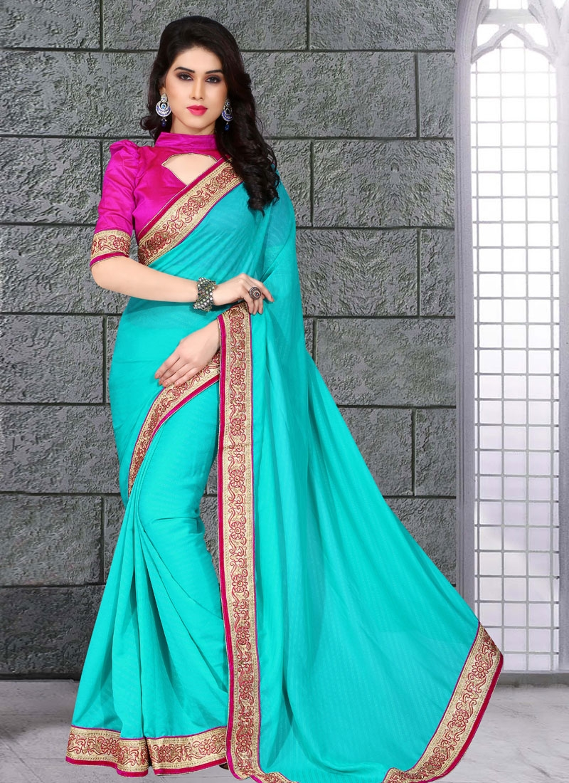 Versatile Lace And Resham Work Party Wear Saree