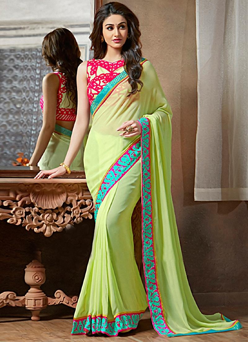 Versatile Mint Green Color Party Wear Saree