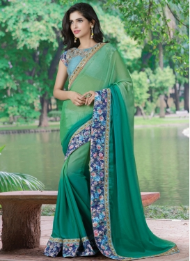Versatile Patch Border Work Chiffon Designer Saree