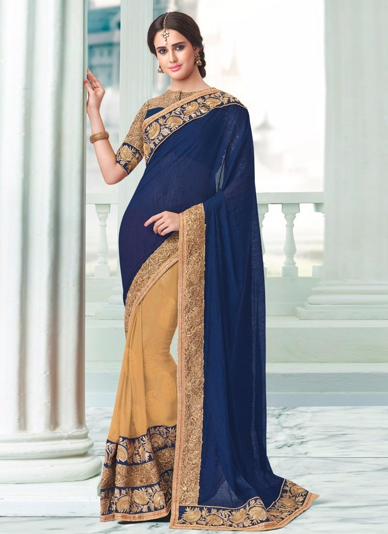 Versatile Patch Border Work Half N Half Party Wear Saree
