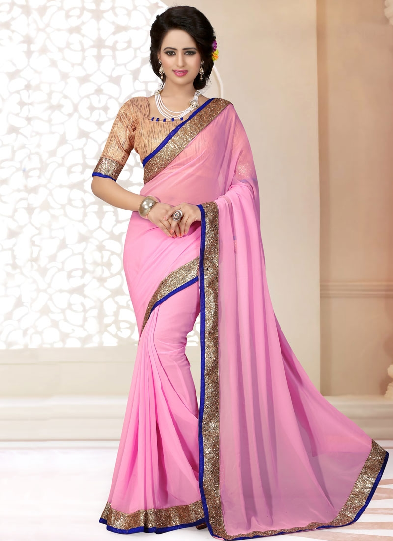 Versatile Pink Color Faux Georgette Casual Saree