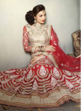 Versatile Red Color Beads Work Bridal Lehenga Choli