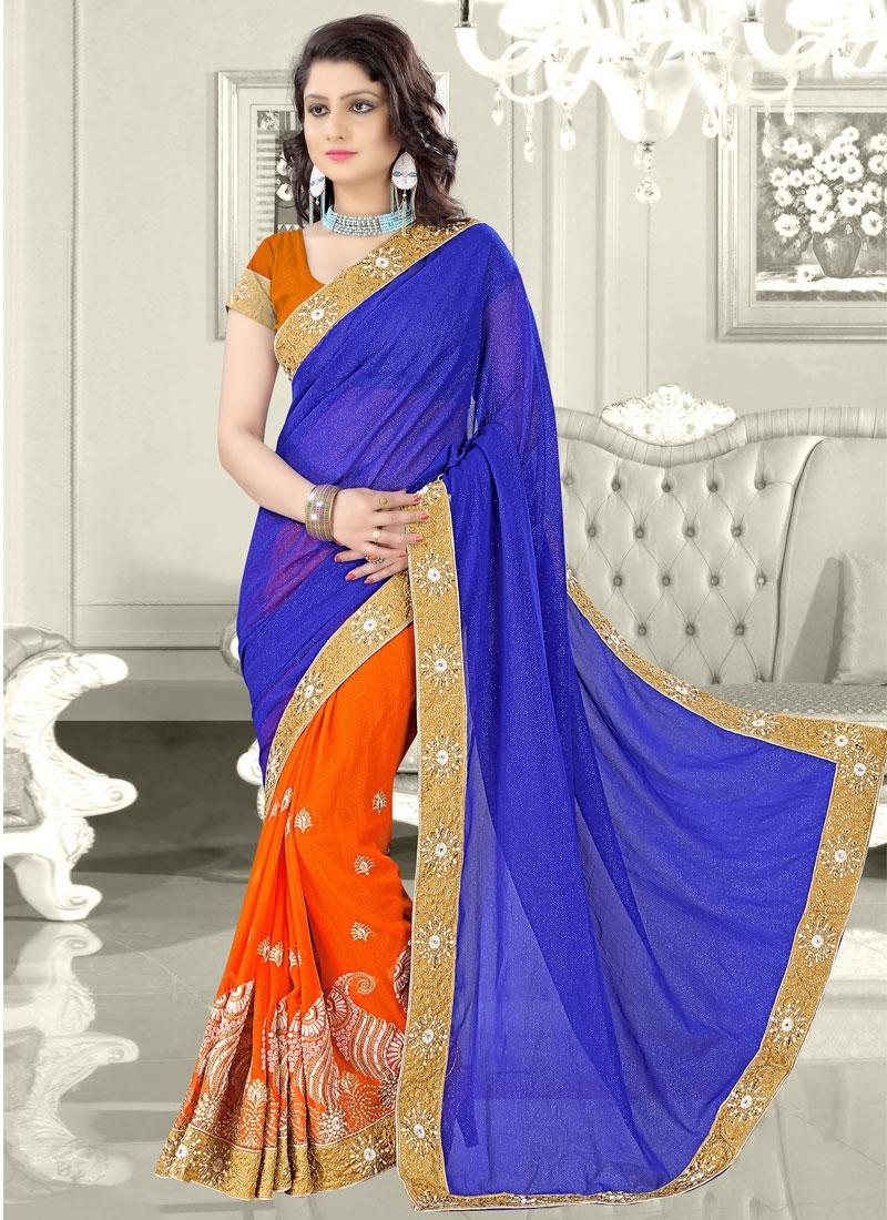 Versatile Resham Work Half N Half Designer Saree