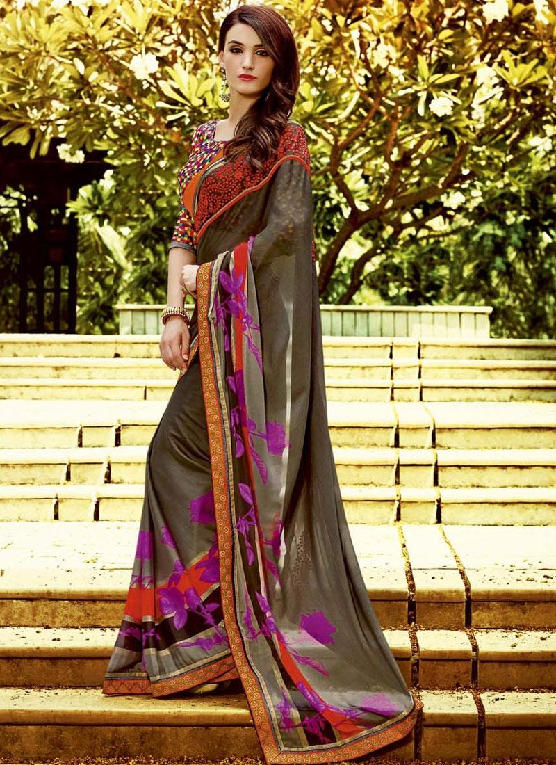 Versatile Resham Work Printed Casual Saree