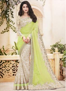 Vibrant Aloe Veera Green Lace Work Designer Half N Half Saree