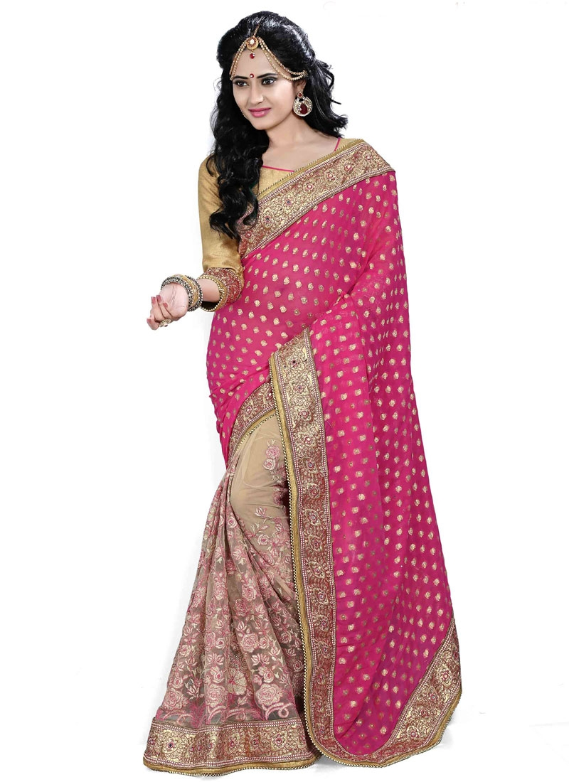 Vibrant Beads And Resham Work Half N Half Wedding Saree
