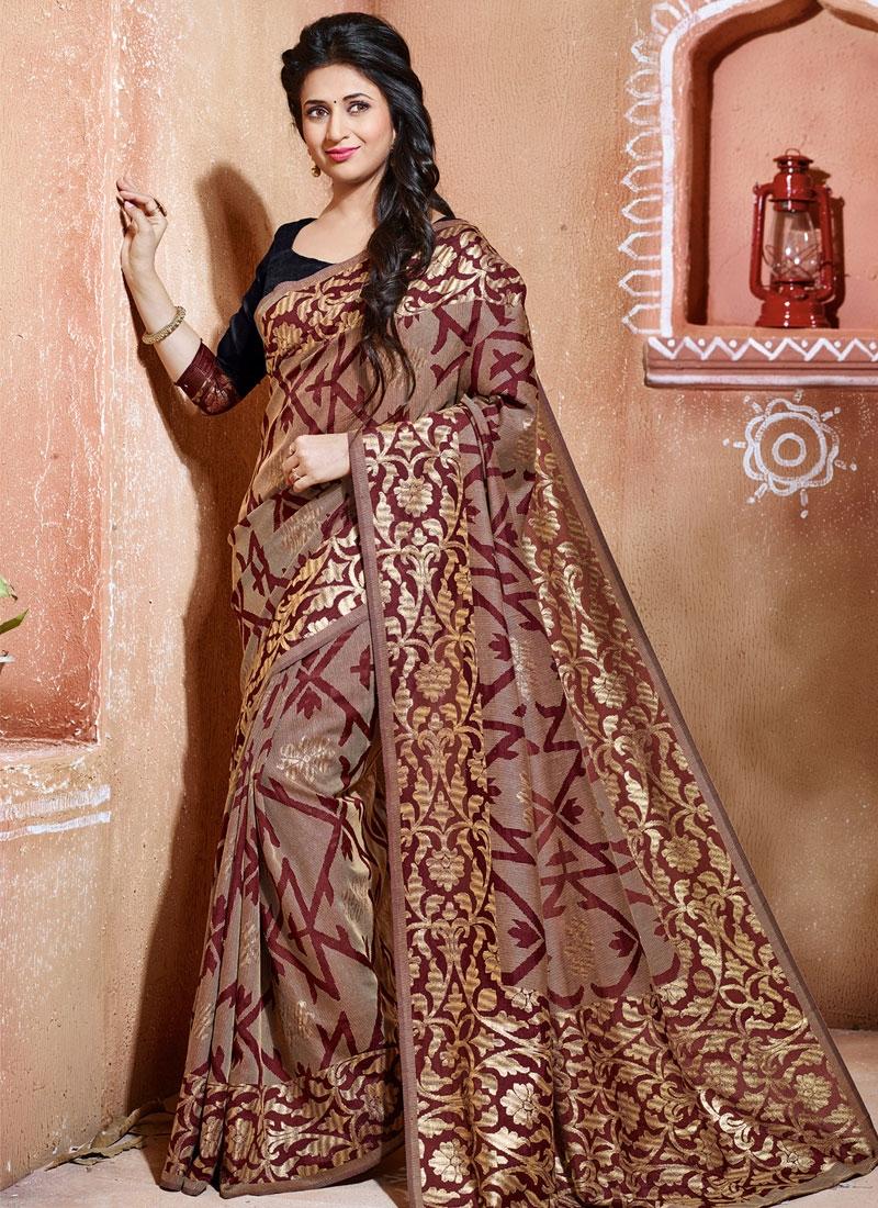 Vibrant Brown Color Divyanka Tripathi Party Wear Saree