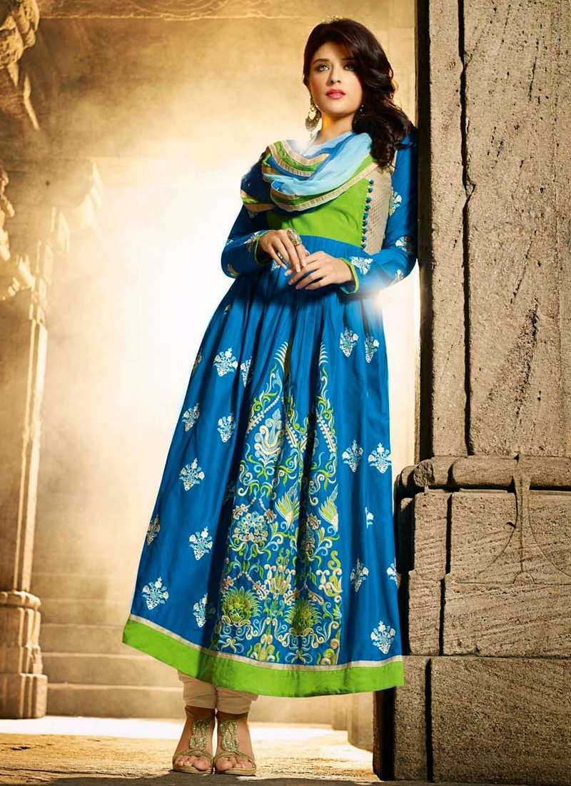 Vibrant Cotton And Satin Anarkali Salwar Suit
