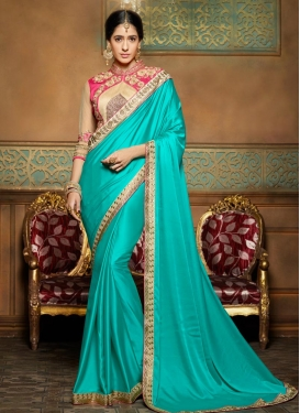 Vibrant Crepe Silk Embroidered Work Traditional Saree