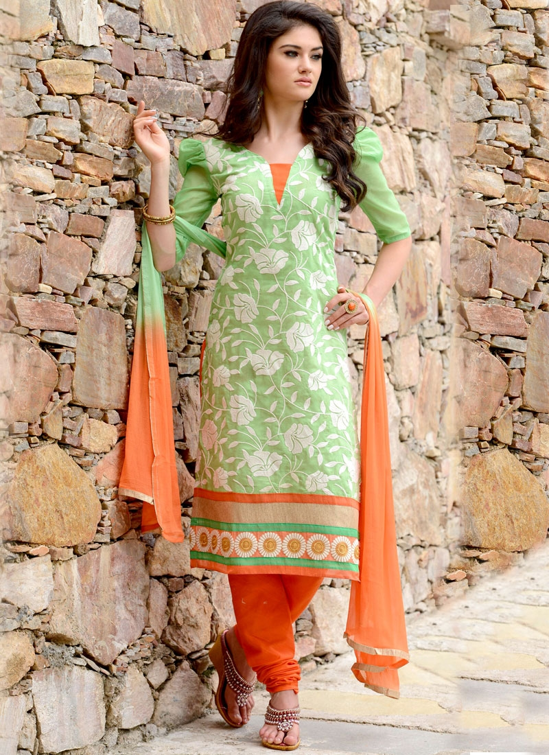 Vibrant Embroidery Work Churidar Suit