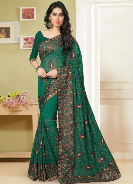 Vibrant Embroidery Work Wedding Saree