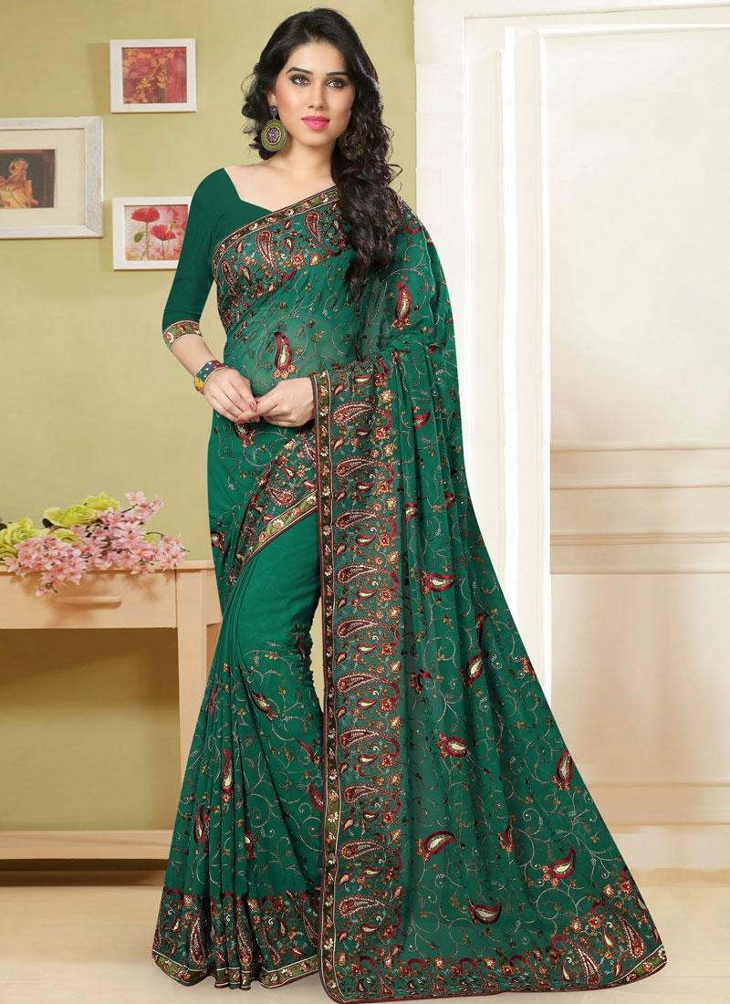 Vibrant Embroidery Work Wedding Saree