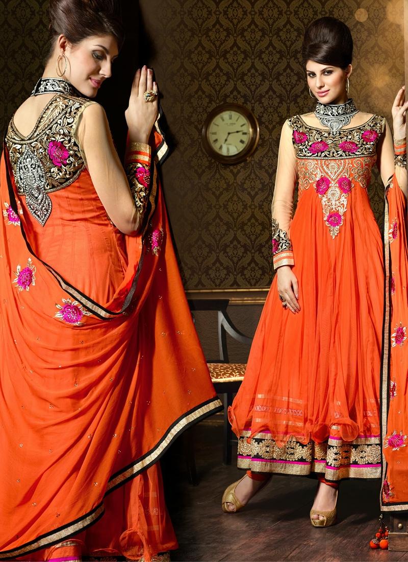 Vibrant Gold Zardosi Work Designer Salwar Suit