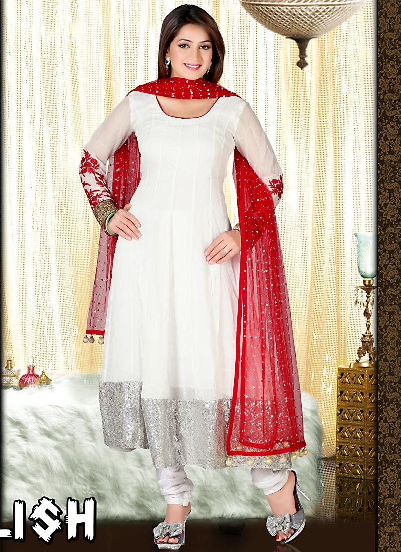 c819b43c600e Vibrant Off White Faux Georgette Anarkali Suit