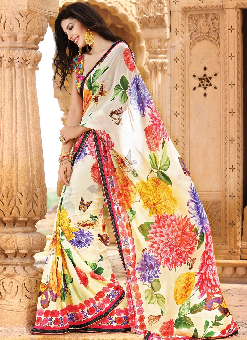 Vibrant Off White Party Wear Saree