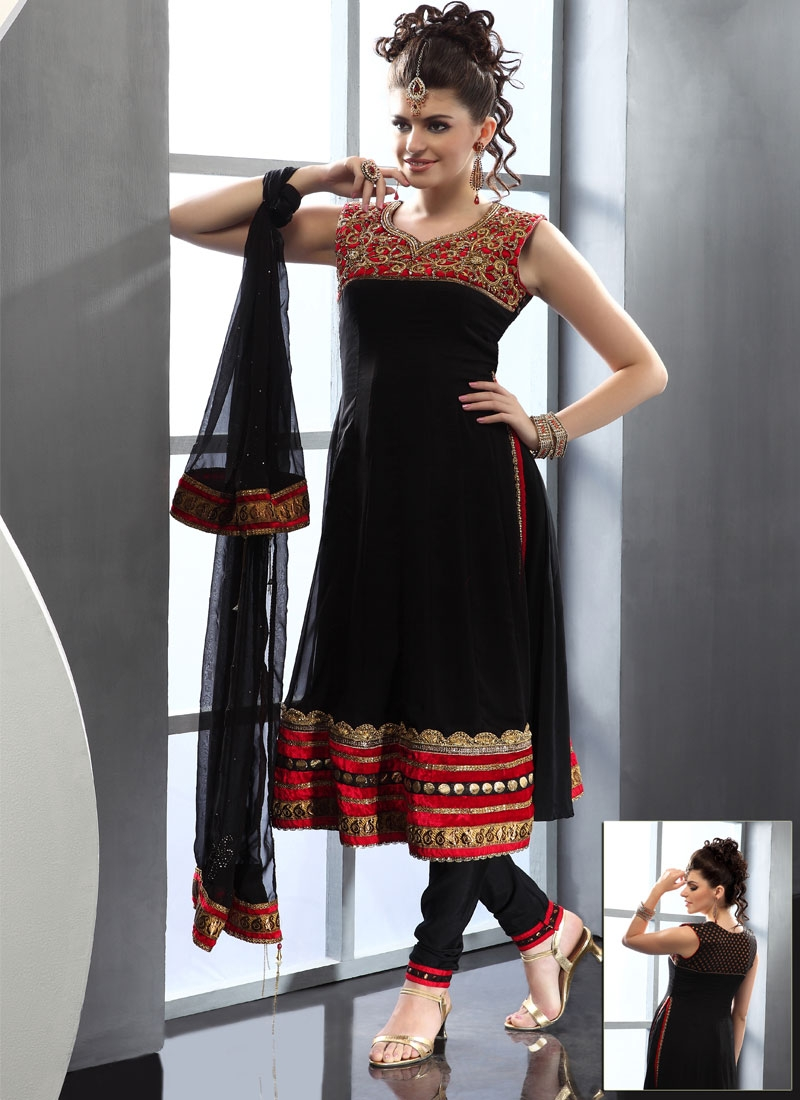 Vibrant Red And Black Readymade Salwar Suit