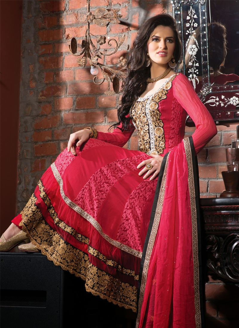 Vibrant Red Color Designer Salwar Kameez