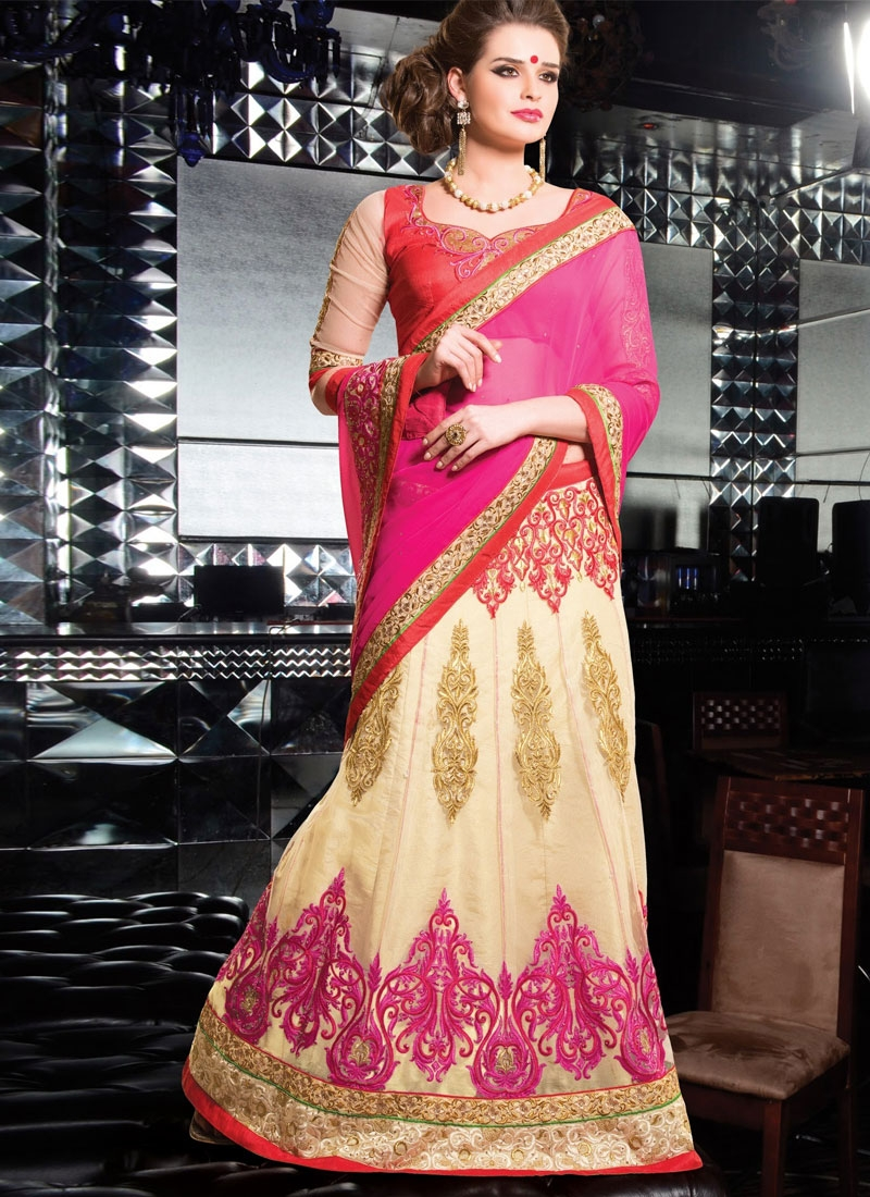 Vibrant Resham Work Chiffon And Net Lehenga Style Saree