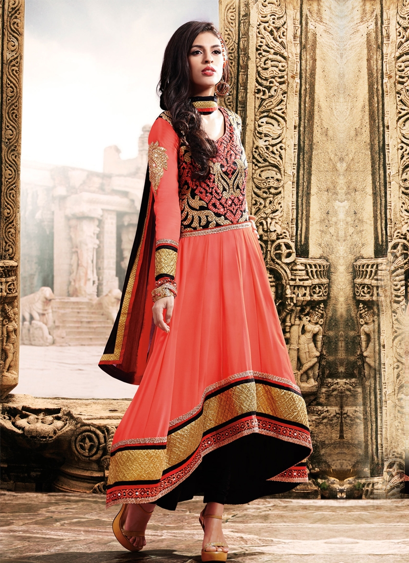 Vibrant Salmon Color Zari Work Designer Salwar Suit