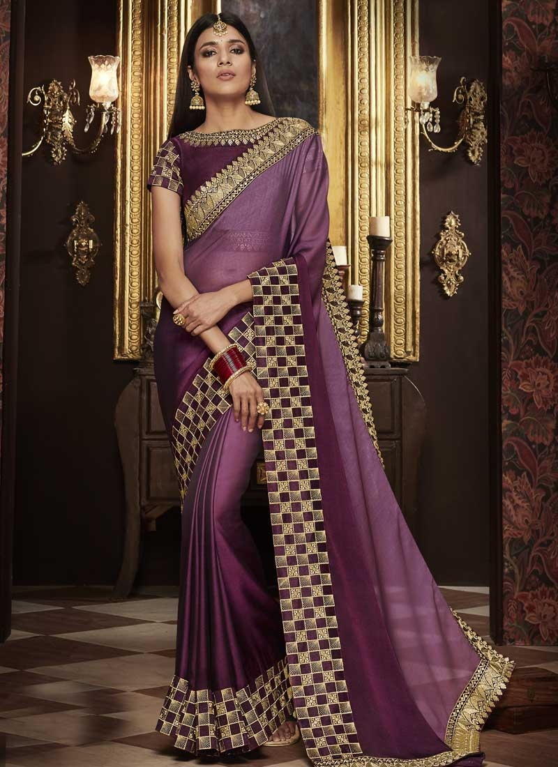 Violet and Wine Satin Georgette Traditional Saree