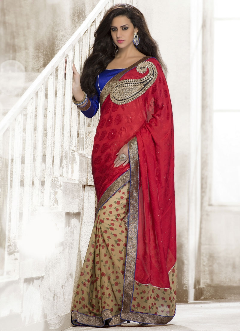 Vivacious Booti And Lace Work Half N Half Party Wear Saree