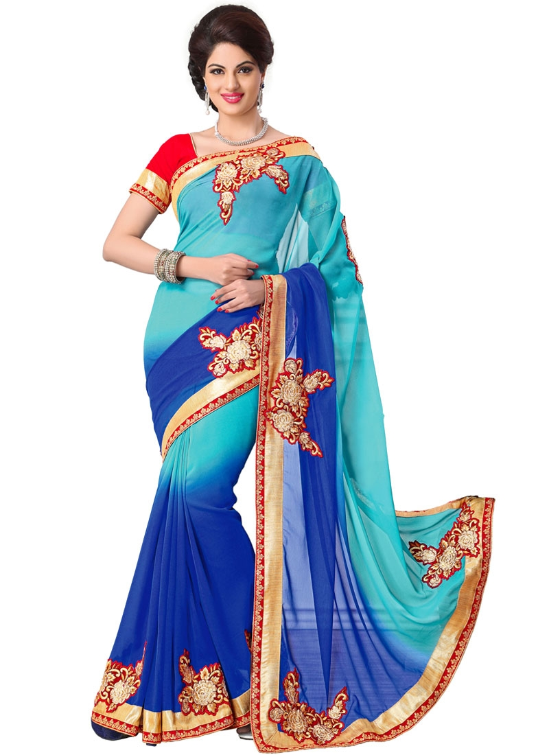 Vivacious Booti And Patch Work Party Wear Saree