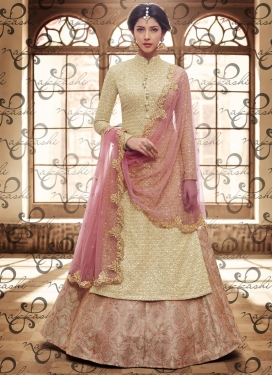 Vivacious  Brocade Embroidered Work Cream and Salmon Kameez Style Lehenga