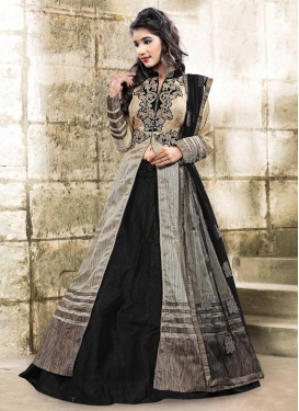 Vivacious Embroidered Work Bhagalpuri Silk Beige and Black Kameez Style Lehenga Choli