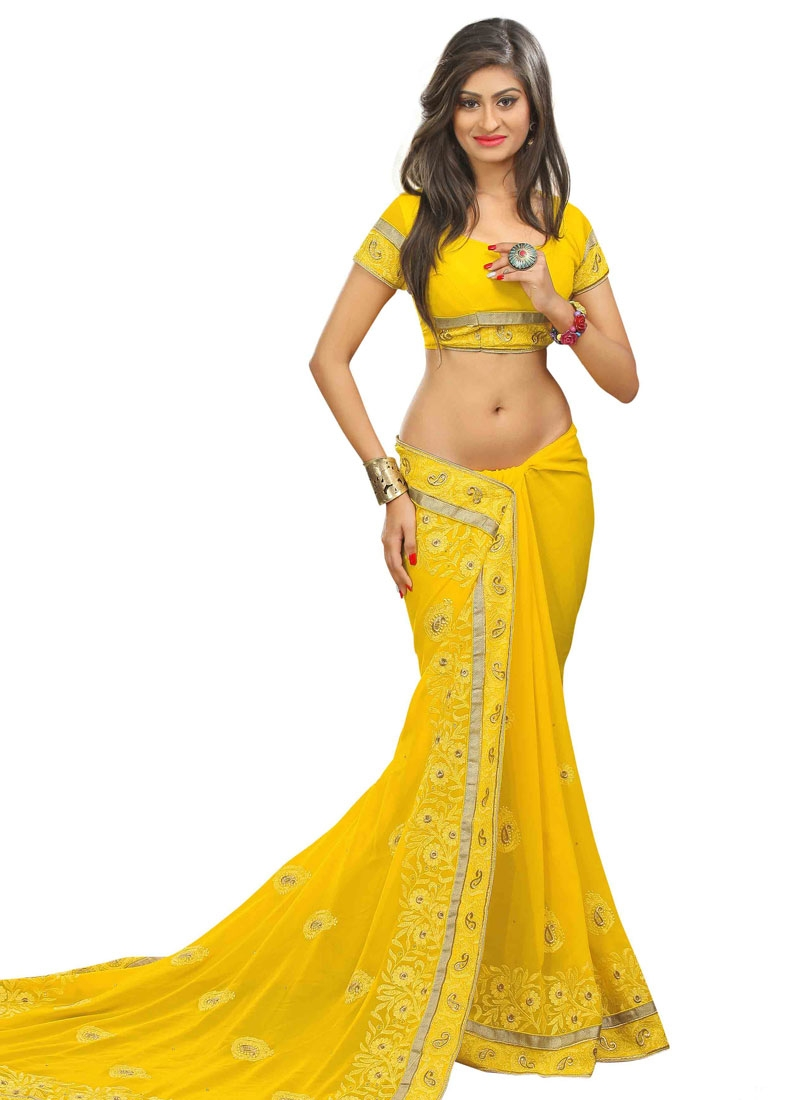 Vivacious Faux Georgette Yellow Color Designer Saree